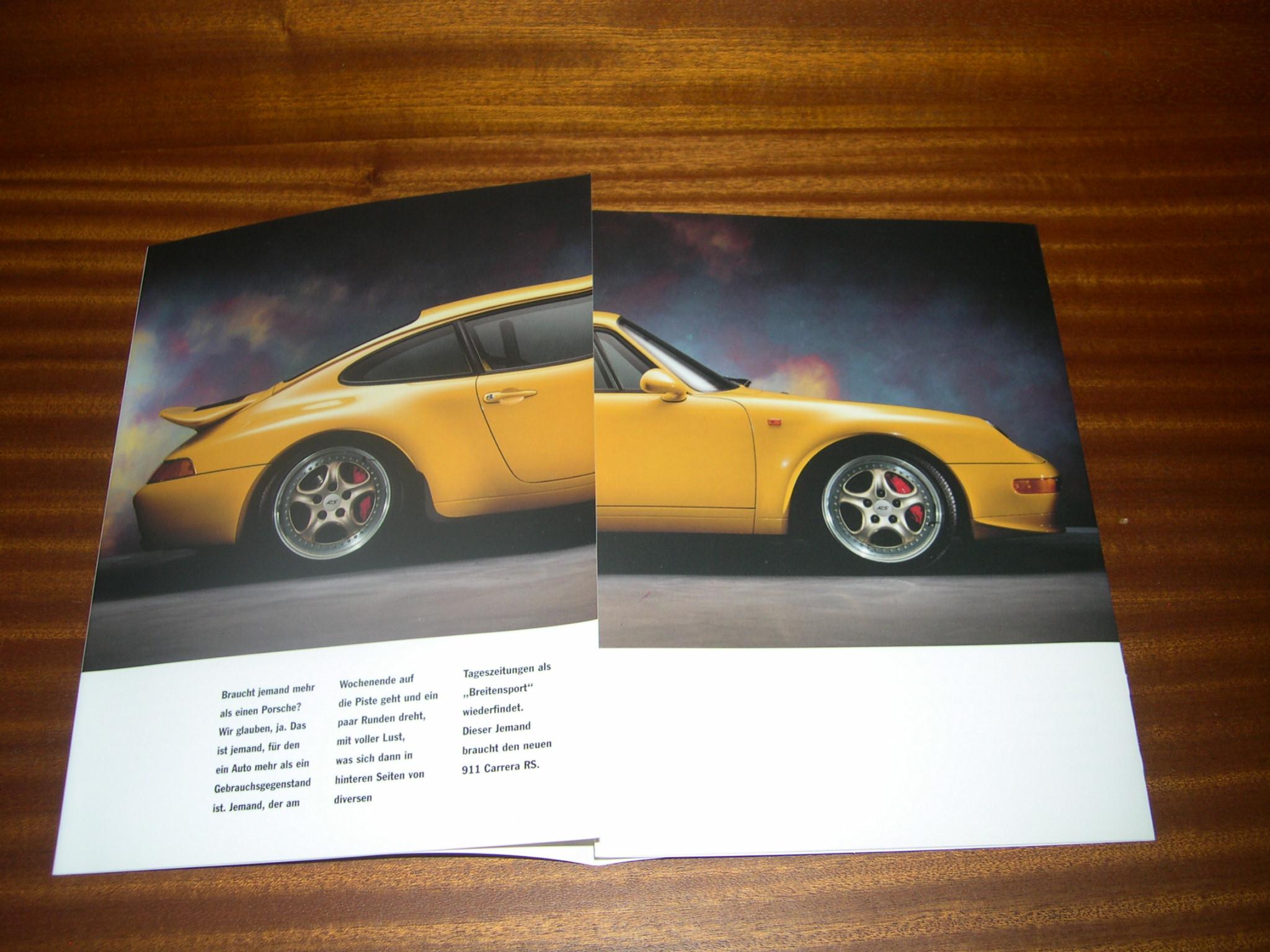 porsche 911 carrera rs 993 brochure catalog prospekt. Black Bedroom Furniture Sets. Home Design Ideas